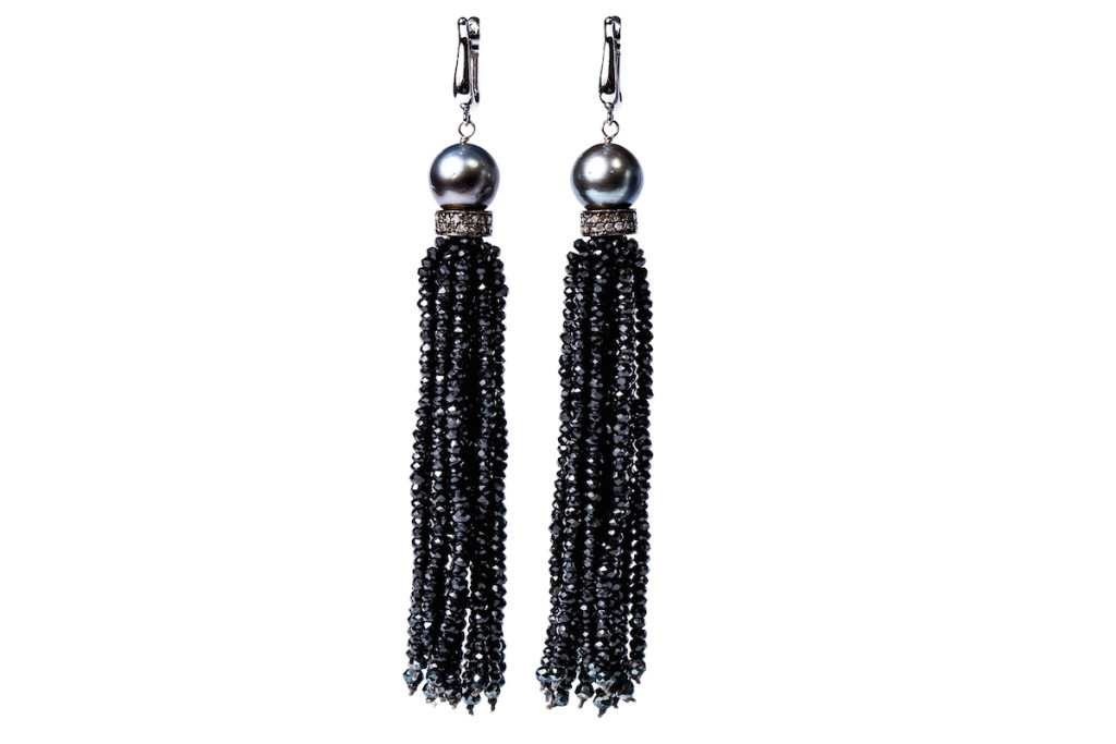 Istanbul NightsTahiti Pearl Black Spinel Tassel Earrings by Gemme Couture jewelry