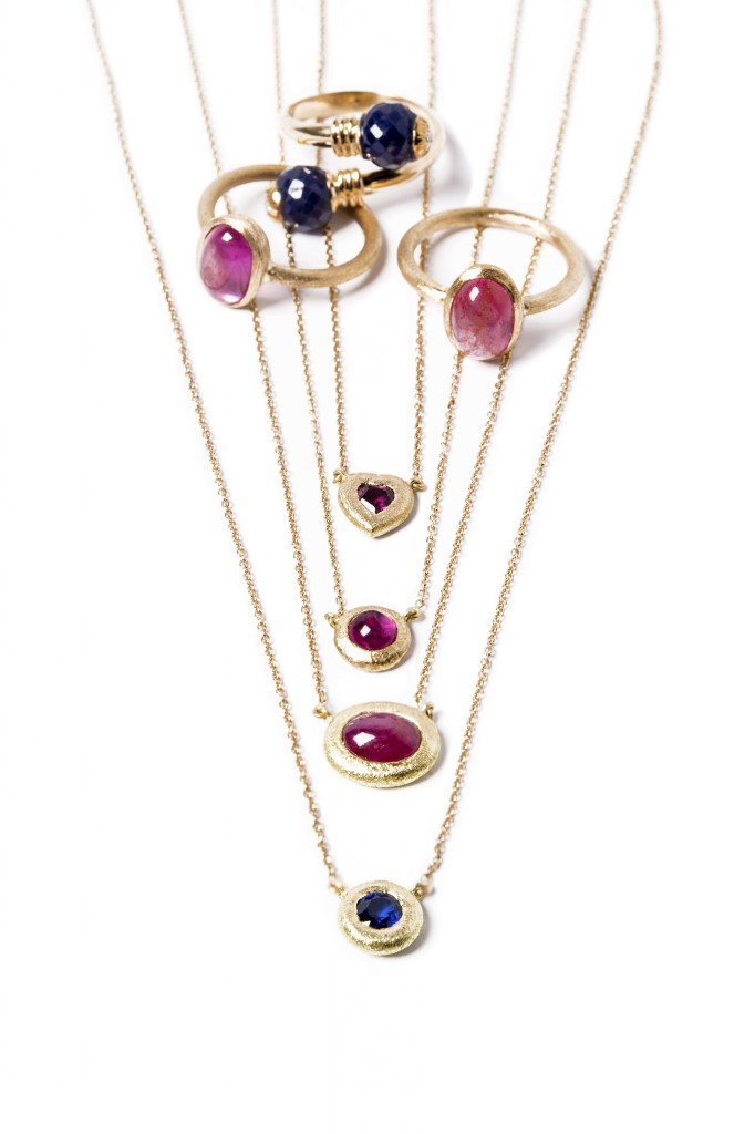 ruby and sapphire rings and necklaces