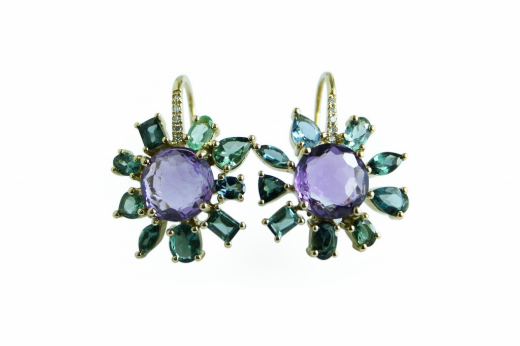 Amethyst and Tourmaline Earrings