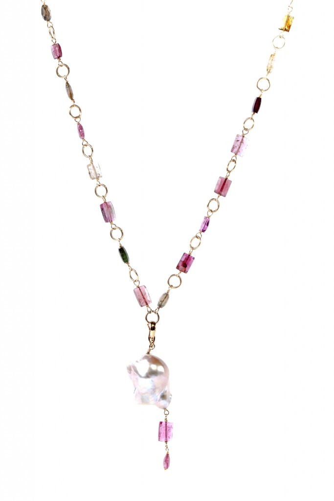 Baroque Pearl Pink Tourmaline Necklace