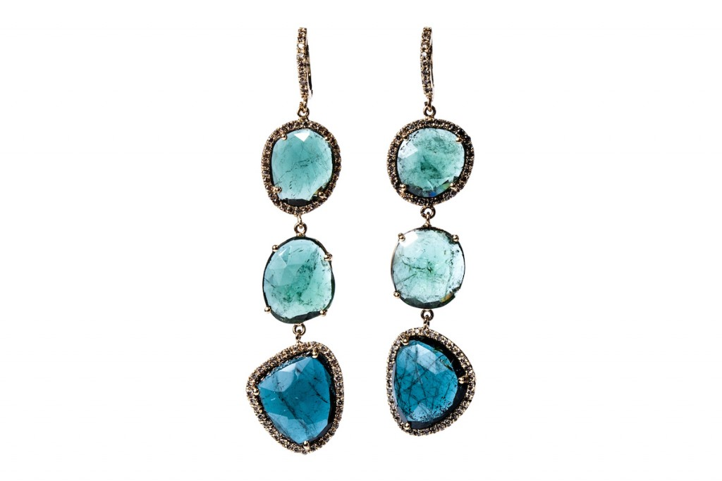 Blue Tourmaline Diamond Earrings