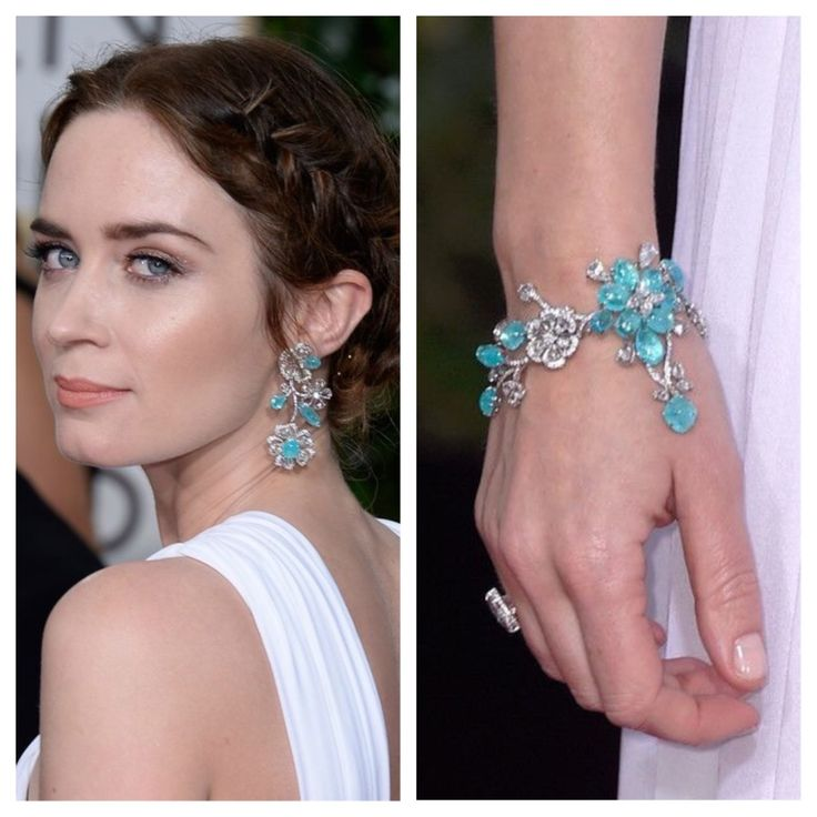 Emily Blunt Tourmaline Earrings and Bracelet