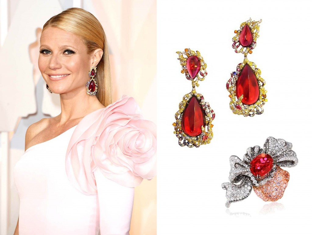 Gwyneth Paltrow Rubellite Tourmaline Earrings and Ring