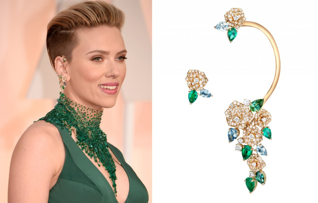 Scarlett Johansson mismatched Tourmaline Earrings