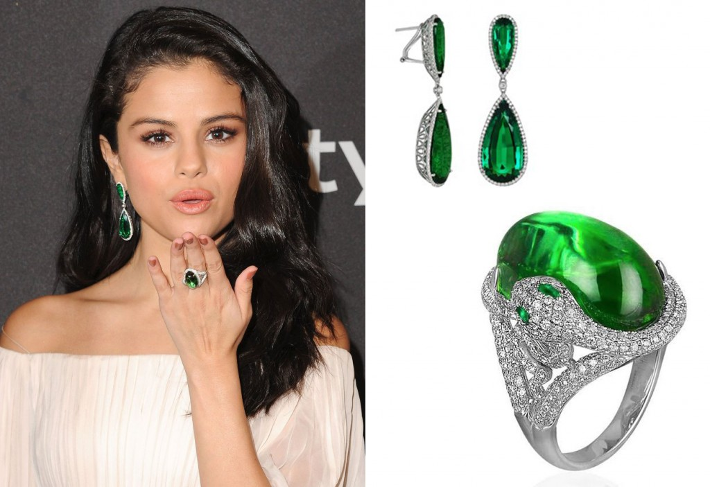 Selena Gomez Green Tourmaline Ring and Earrings