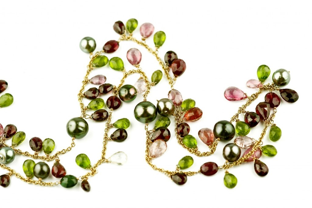 Tourmaline and Tahitian Pearl Necklace