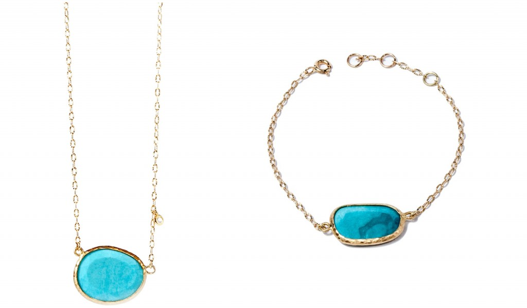 Blue Lagoon - Turquoise Bracelet and Turquoise Diamond necklace