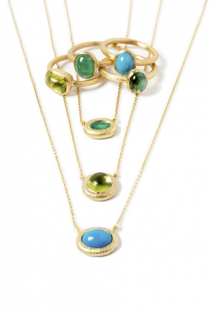 Emerald, Peridot and Turquoise Necklaces and Rings