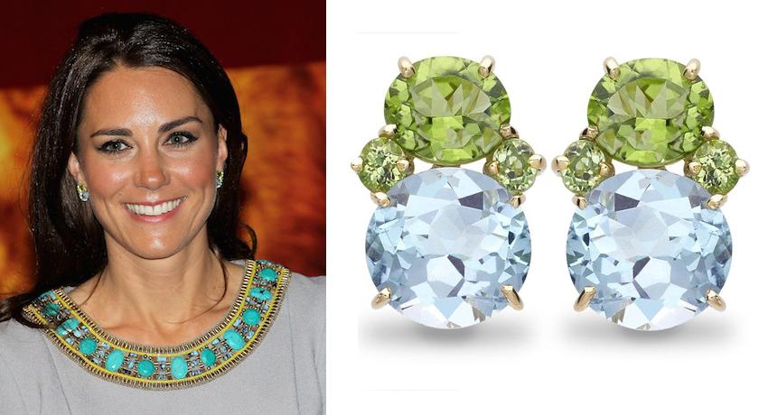 Kate Middleton Peridot, Blue Topaz & Diamond Earrings