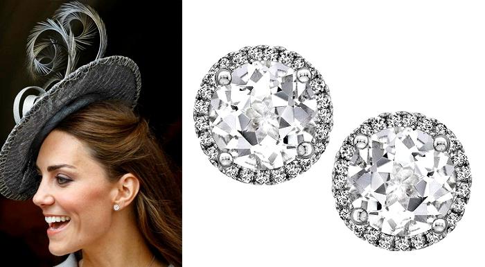 Kate Middleton White Topaz and Diamond Stud Earrings