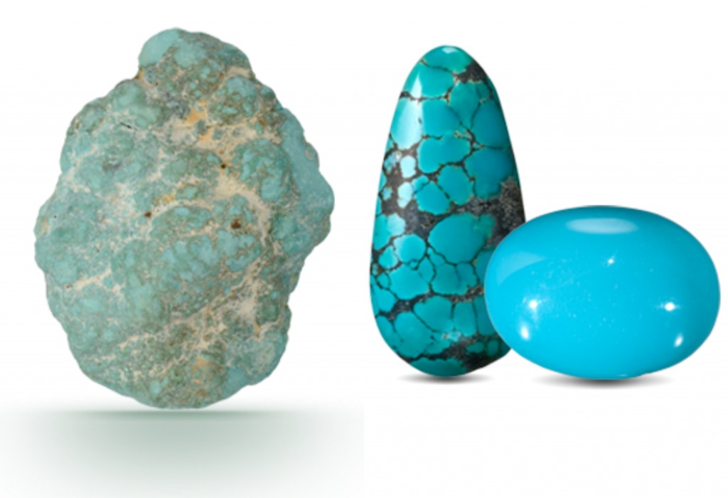 Rough and polished turquoise