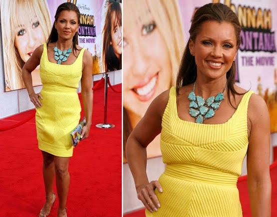 vanessa williams in turquoise necklace and yellow dress