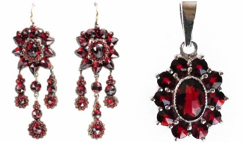 Bohemian garnet earrings and pendant