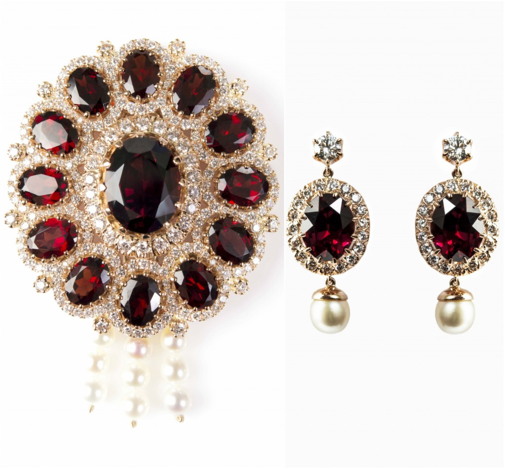 Garnet Diamonds and Pearls Brooch and Earrings Gemme Couture