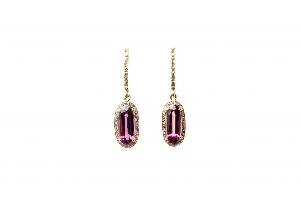 Garnet and Diamonds Earrings Gemme Couture