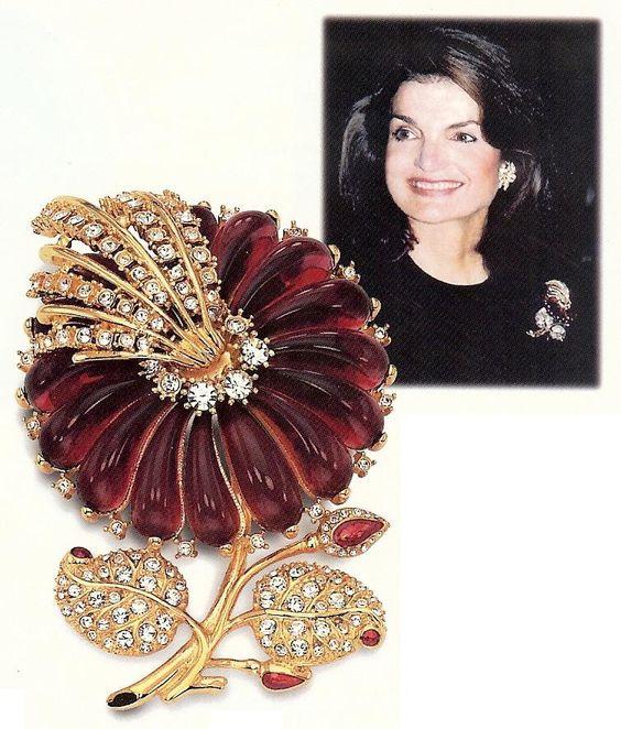 Jackie Kennedy garnet diamond gold brooch