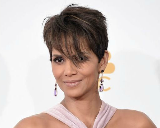 Halle Berry wears Dove's Amethyst and Mother of Pearl Earrings to the 2014 Emmys