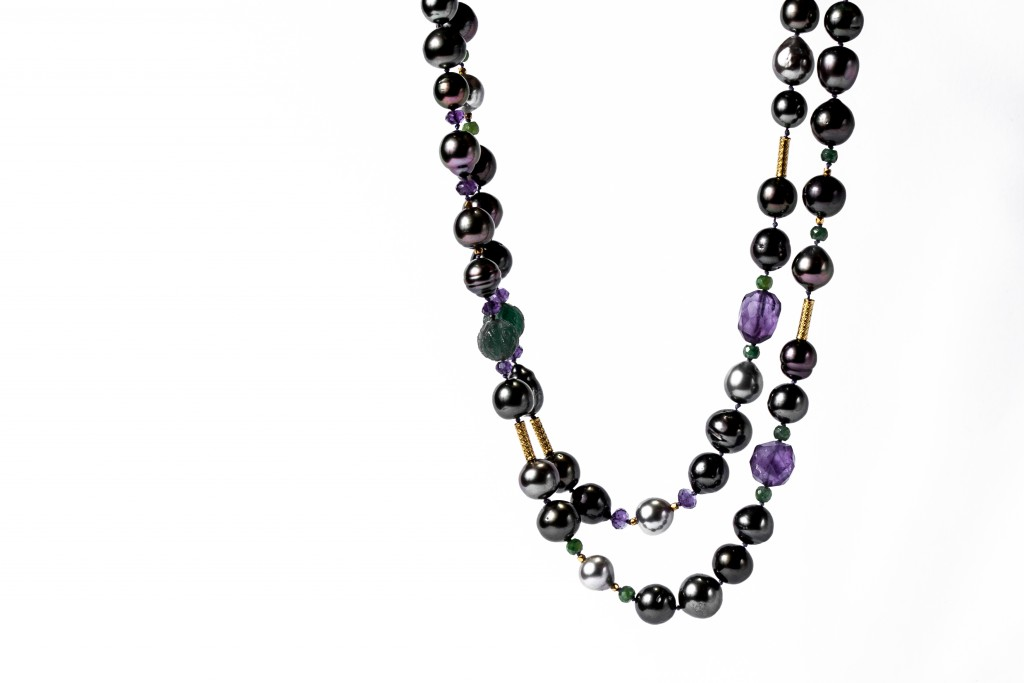 Tahiti Pearl Emerald Amethyst Carved Green Onyx and Gold Bead Necklace