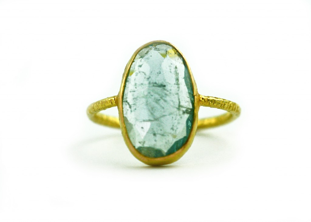 Gemme Couture - Aquamarine and gold ring