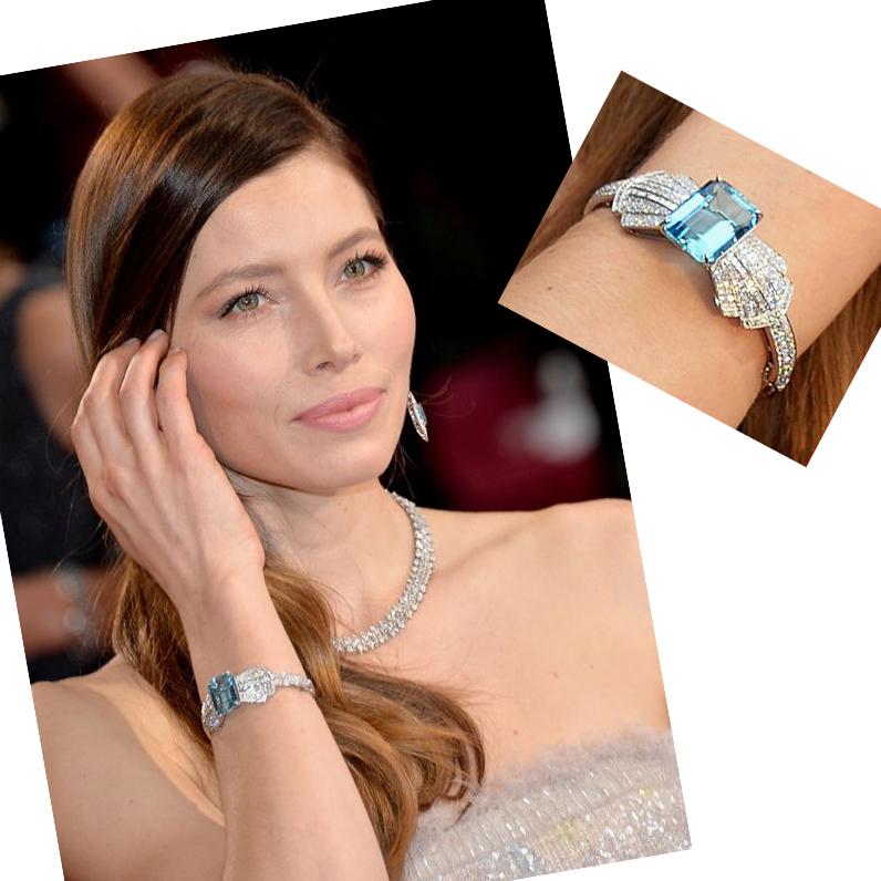 Jessica Biel aquamarine and diamonds bracelet earrings and necklace