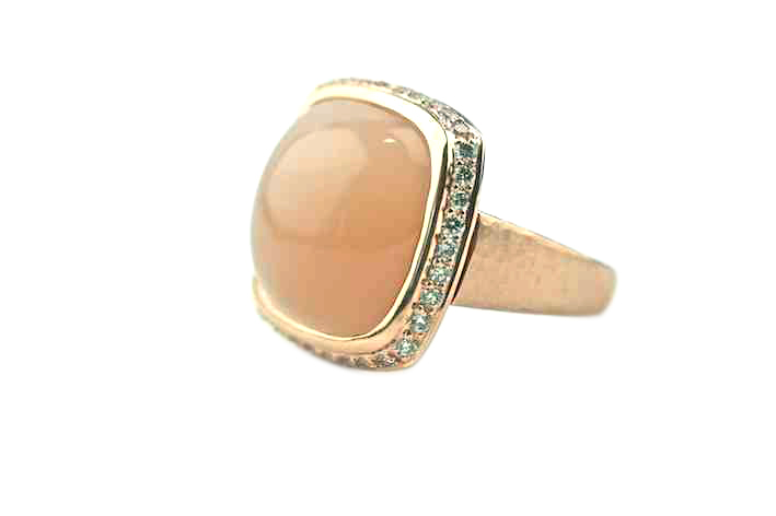Peach Moonstone and Diamonds ring from Gemme Couture jewelry