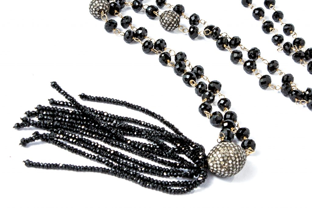 Istanbul NightsBlack Spinel Tassel and Diamond Ball Necklace jewelry