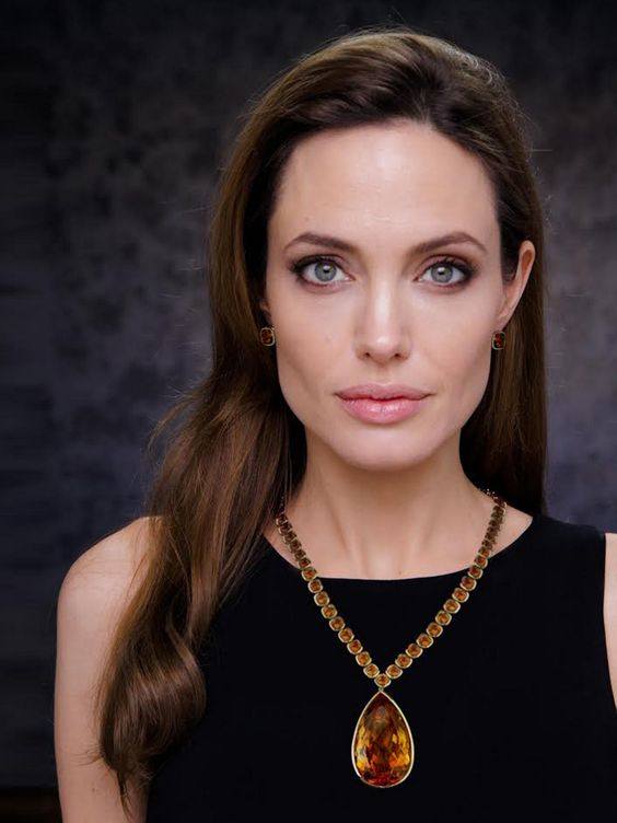 "Angelina Jolie wearing the ""Jolie Citrine Necklace"""