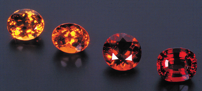 Citrine is found in a variety of shades from pastel yellow to dark brownish orange.