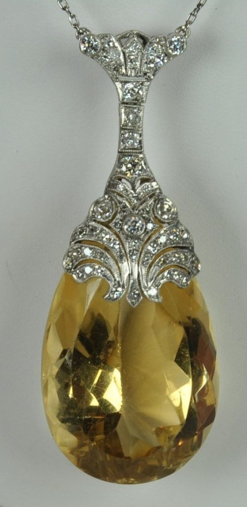 Art Deco citrine and diamond pendant