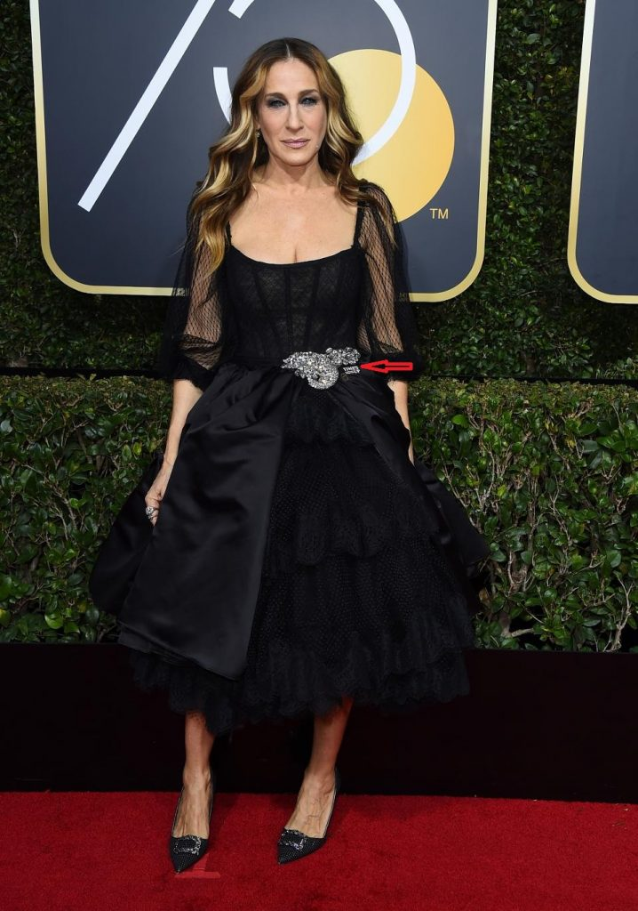 Sarah Jessica Parker supporting Time's Up at 2018 Golden Globes