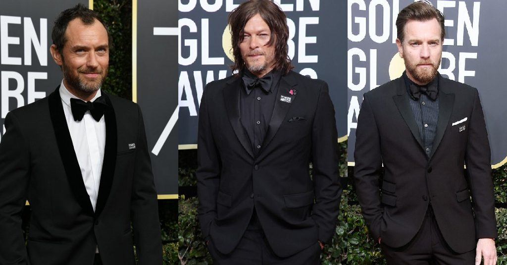 Jude Law, Norman Reedus and Ewan McGregor also joined in solidarity with the Time's Up stars at Golden Globes 2018