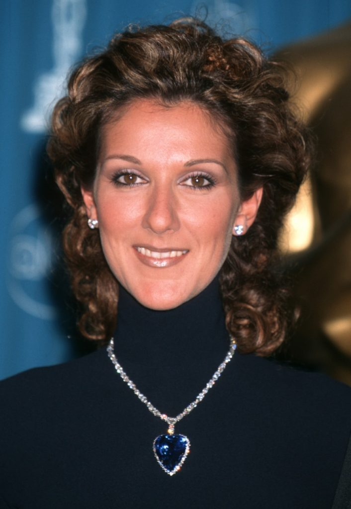 "Celine Dion wearing the ""Heart of the Ocean"" at the 1998 Academy Awards ceremony"