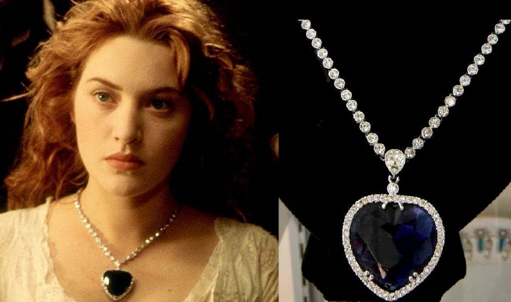 "Kate Winslet's Rose wearing the ""Heart of the ocean"" necklace in the movie Titanic Jewelry in Movies"