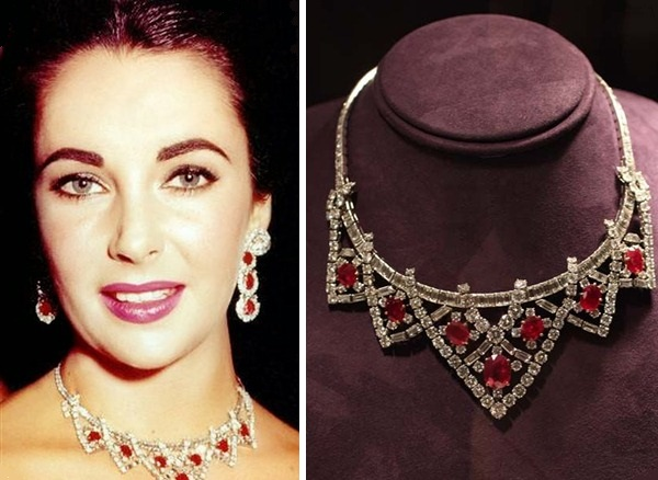 Elizabeth Taylor's ruby jewelry: Ruby and Diamond Necklace