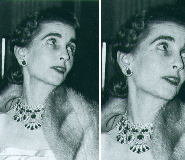 Barbara Hutton wearing Queen Amelie's Ruby Necklace