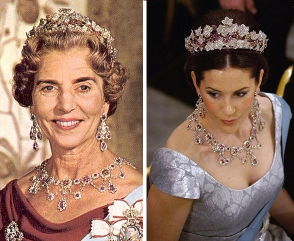 Queen Ingrid and the Crown Princess Mary of Denmark, both wearing Queen Ingrid's Ruby Parure Tiara