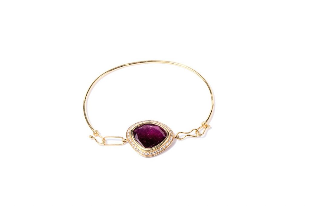 Gemme Couture ruby jewelry: Red Velvet Ruby Diamond Bangle Bracelet