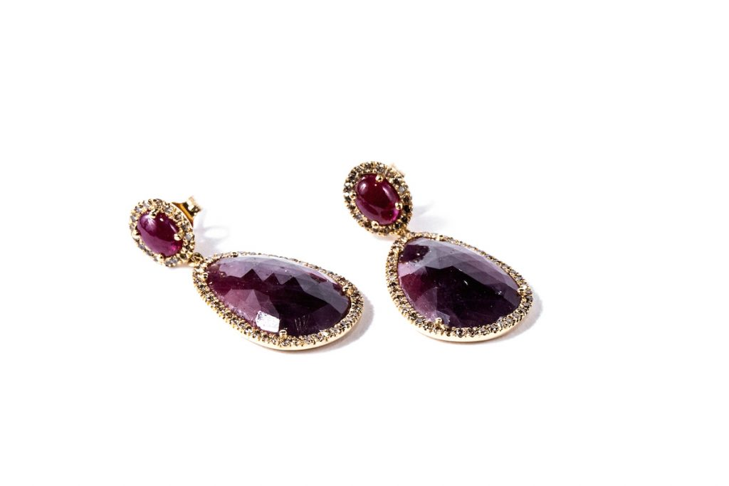 Gemme Couture ruby jewelry: Red Velvet Ruby and Sapphire Diamond Earrings