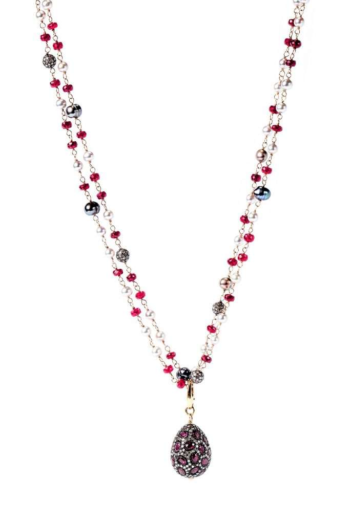Gemme Couture ruby jewelry: Ruby Egg Drop Necklace with Fresh Water Pearls, Diamond Balls and Ruby Beads