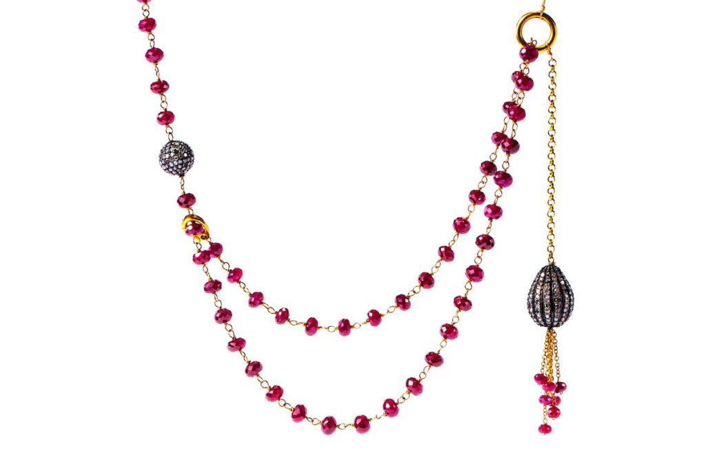 Gemme Couturruby jewelry: Ruby and Pave Diamond Necklace