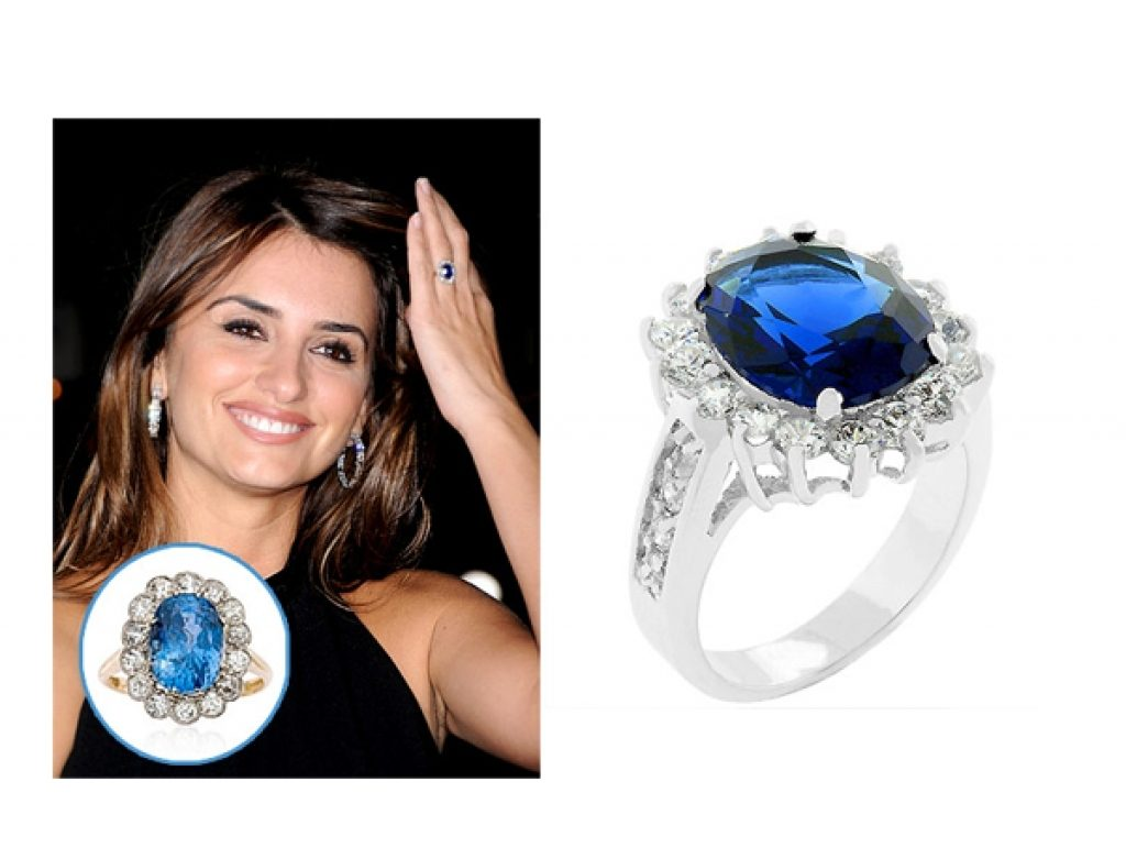 Penelope Cruz with her blue engagement ring