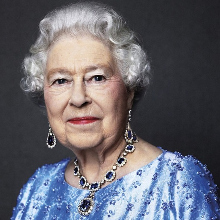 Queen Elizabeth is wearing a matching sapphire and diamond set given to her by her father King George VI for her wedding. It's arguably one of the most famous jewelry pieces in the world