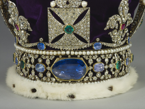 The sapphire weighing 104 carats is part of the Royal Crown Jewels of Queen Elizabeth II and was acquired by her ancestors in the 14th century.