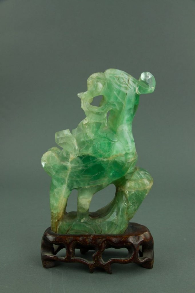 Chinese Green Tourmaline Stone Figure from 18th /19th century