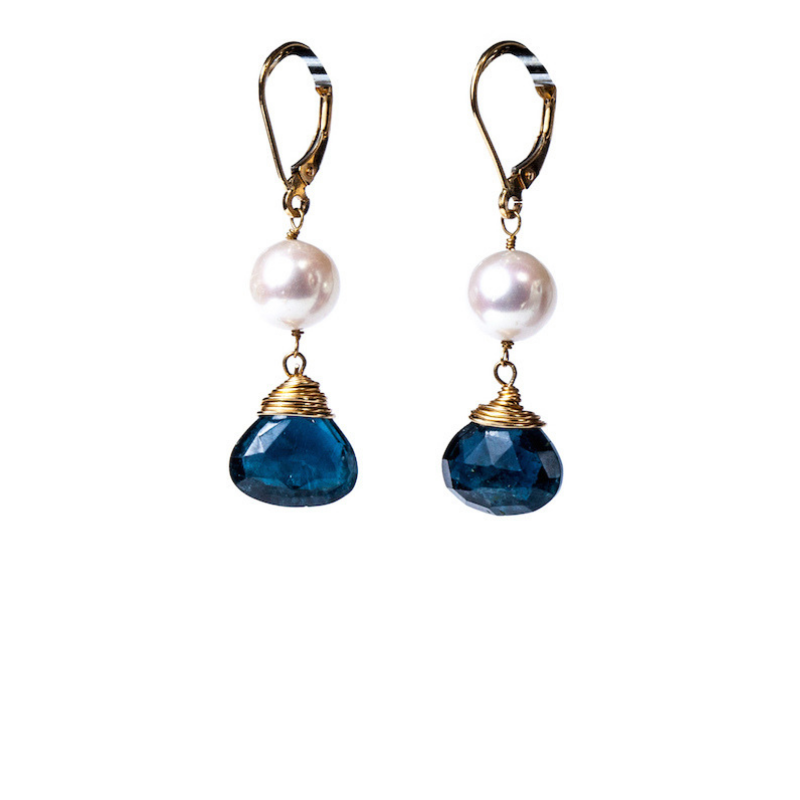 Gemme Couture Blue Tourmaline Fresh Water Pearl Earrings. Gems and the City Collection