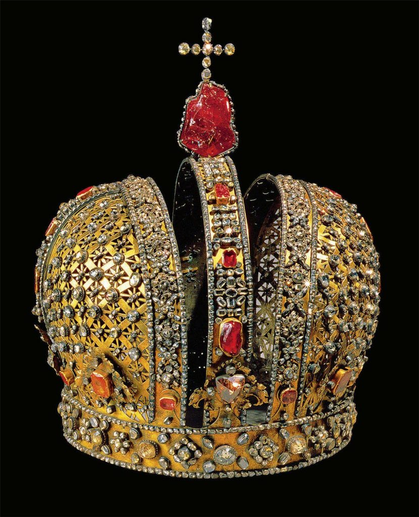 The Russian crown of Anna Ivanovna. One of the first imperial style center headband and helmet split in two. It was created for the coronation of Tsarina Anna. The crown is made from silver and adorned with 2,500 diamonds and a huge tourmaline on which the cross stands. It was used again in 1826 to the proclamation of Nicholas I as king of Poland.