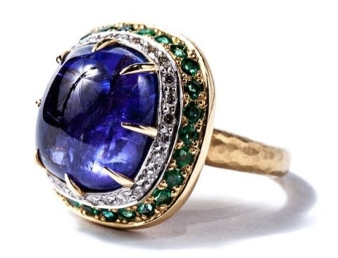 "Gemme Couture jewelry – ""Byzantine Times"" Ring with Tanzanite Cabochon, Emerald and Diamonds"