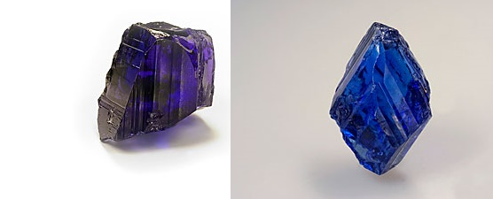 Tanzanite is strongly pleochroic, as the above photos of the same crystal show