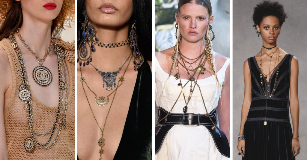 Layered necklaces: Chanel, Ralph Lauren, Alexander McQueen, Christian Dior