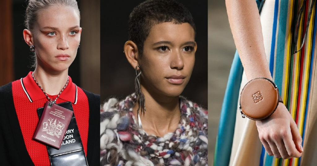 Jewelry Trends 2019 Double usage jewelry: Burberry, Coach 1941, and Loewe